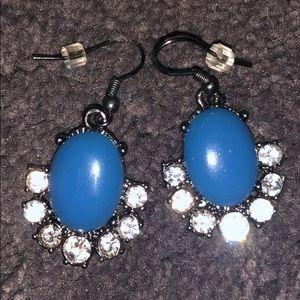 Jewelry: Blue/Rhinestone Pendant Earrings
